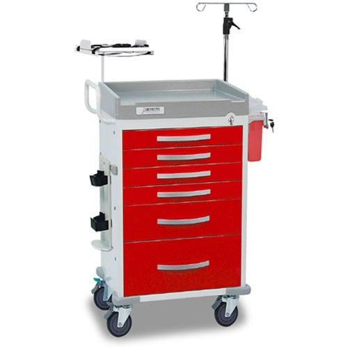 Loaded DETECTO Rescue Series ER Medical Cart, 5 Red Drawers