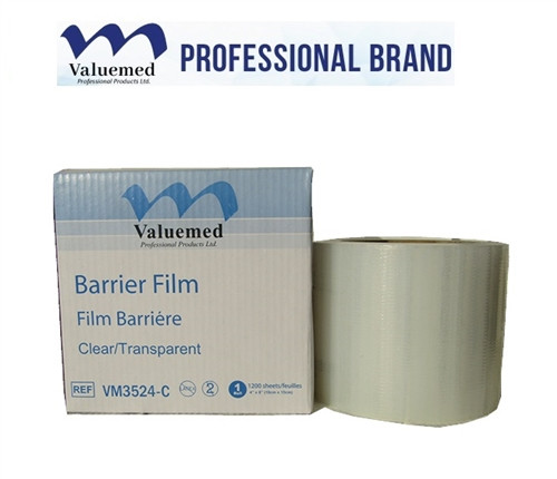 """Valuemed Professional Brand Barrier Film has one """"sticky"""" side and one non-stick side of each sheet on the roll to create a clean barrier to keep your equipment and surfaces clean"""