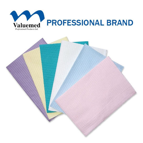 Valuemed Professional Dental Bibs 2 Ply Paper + 1 Ply Poly Aqua 500/cs
