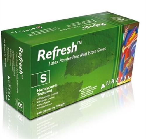 Aurelia Refresh Latex Powder Free Gloves 100/box Green Gloves MEDIUM