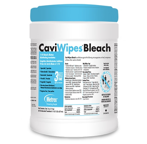 """CaviWipes Bleach Surface Disinfectant Wipes 6"""" x 10.5"""" 90/tub"""