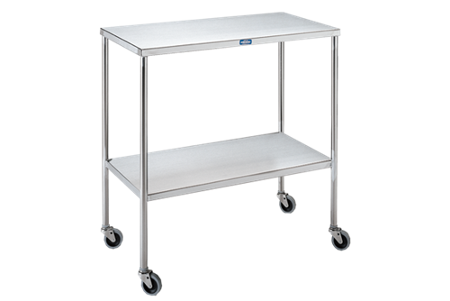 """Instrument Table with Shelf, Stainless Steel, 33""""W x 18""""D x 34""""H"""
