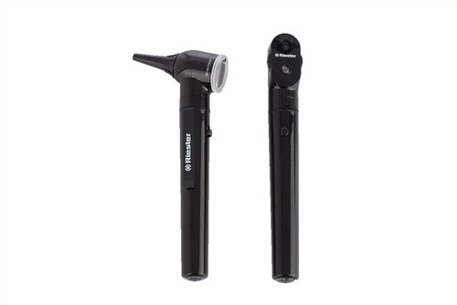 Riester E-Scope, Pocket Otoscope/Ophthalmoscope Set, 3.7V LED, AA-Type Battery Hande, Black, Hard Case Included