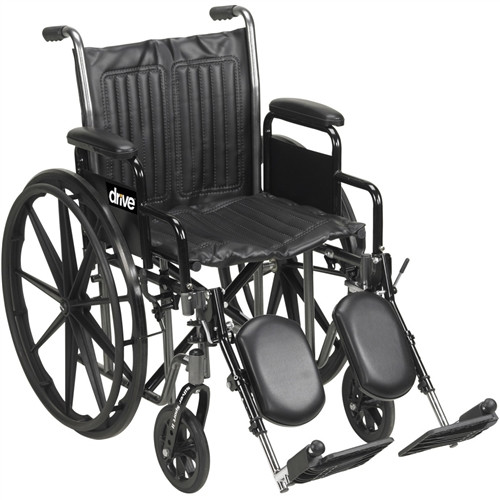 """Drive Silver Sport Wheelchair 20"""", Detachable Full Arm, Swing-Away Footrests"""
