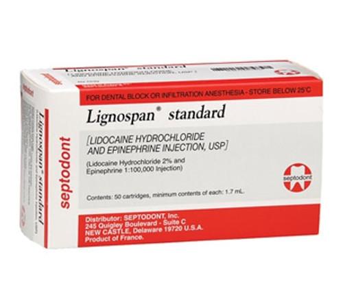 Septodont Lignospan Standard Lidocaine HCl. 2% and Epinephrine 1:100,000 Anesthetic Injection, USP 50/box