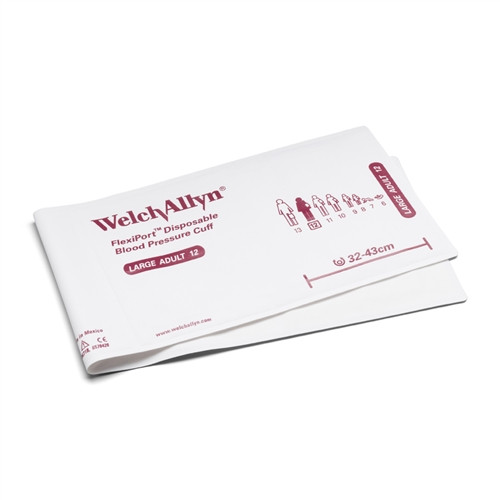 Welch Allyn FlexiPort Blood Pressure Cuff; Size-12 Large Adult, Soft Disposable, No Tubes or Connectors; Cuff Range 32-43 CM