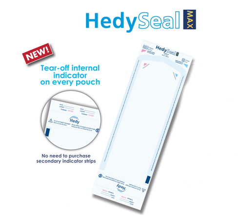 """HedySeal Max Sterilization Pouches with Class 4 Indicator 3.5"""" x 9"""", 200/box"""