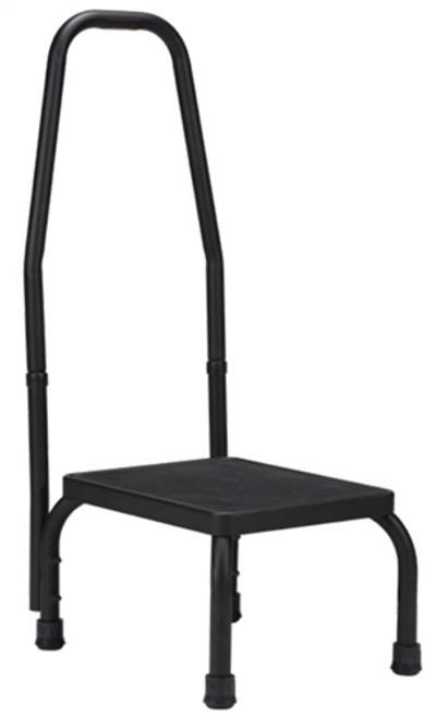 Step Stool with Handrail, Black, 300lbs Capacity