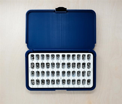 Acero Crowns 3S, Tray with 5 crowns of each size 240 Crowns Total