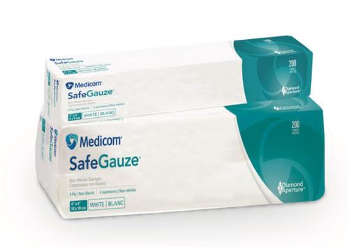 """Medicom SafeGauze Non-Woven Sponges 4"""" x 4"""" 4ply 2000/case"""
