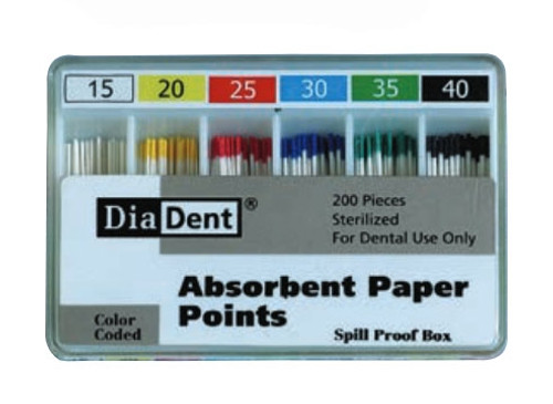 DiaDent Absorbent Paper Points ISO Sizes Non-Marked Spill Proof #80, 200/box