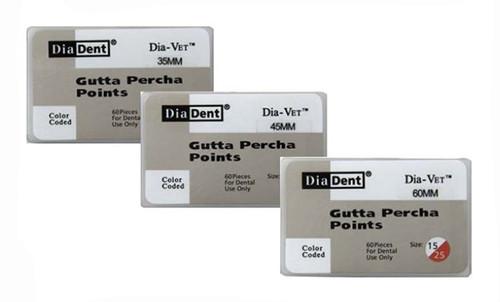 DiaDent Gutta Percha Points Dia-Vet Oversized 35mm Spill Proof #35, 60/box