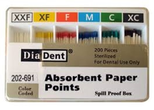 DiaDent Absorbent Paper Points ISO Sizes Non-Marked Spillproof #C, 200/box