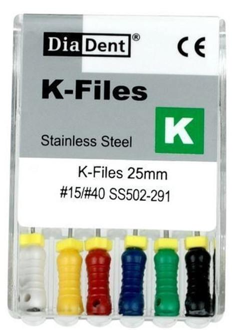 DiaDent Stainless Steel K-Files #15/40, 25mm, pkg/6