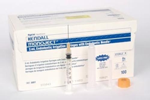 """Monoject 513 ED Endodontic Irrigation Syringe/Needle 27G x 1.25"""" Yellow 100/box"""