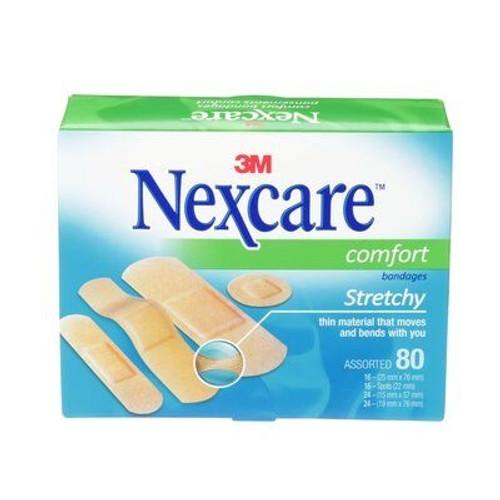 3M Nexcare Comfort Bandages, Assorted, 80/box