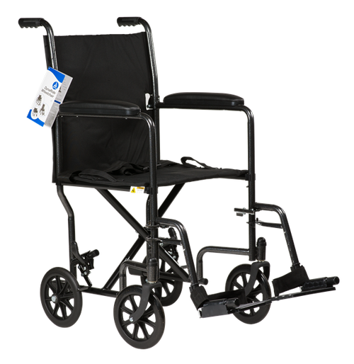 """DynaRide Transport Wheelchair 19"""" Fixed Full Arm with Foot Rest"""