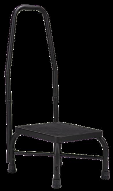 Bariatric Step Stool with Handrail, Black, 500lbs Capacity