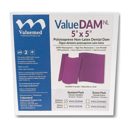 ValueDAM NL Non Latex Dental Dams are extremely strong and stretchy. 100% latex free