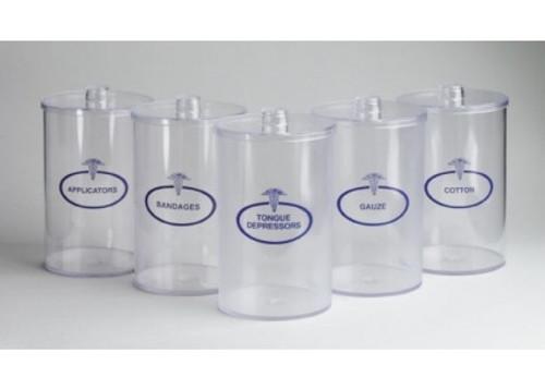 Sundry Jars, Clear Plastic, Labeled 5/Set