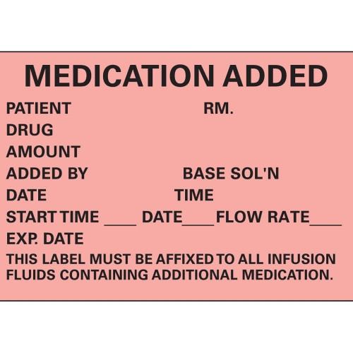 """Medication Added IV Labels, Red, 1.75"""" x 2.5"""", 1000/roll"""