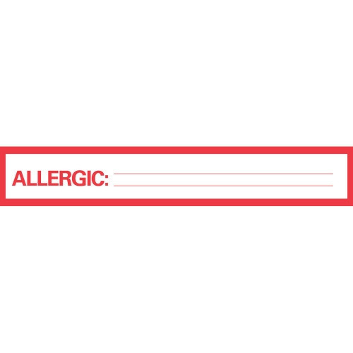 """Allergic To Tape Label, 1"""" x 6"""", 500""""/Roll"""