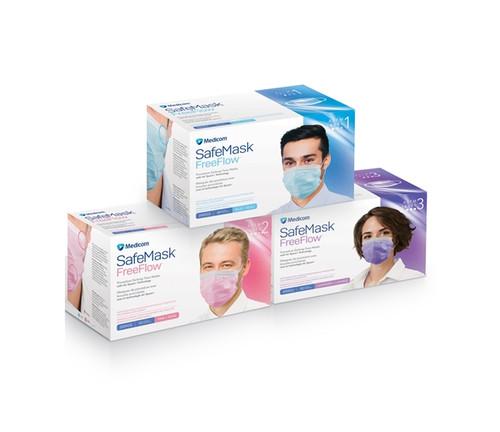 Medicom SafeMask FreeFlow Earloop Mask Level 3, Blue, 50/box