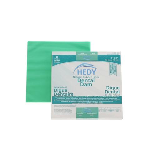 "Hedy Dental Dam Latex Medium Green 5"" x 5""  box/52"