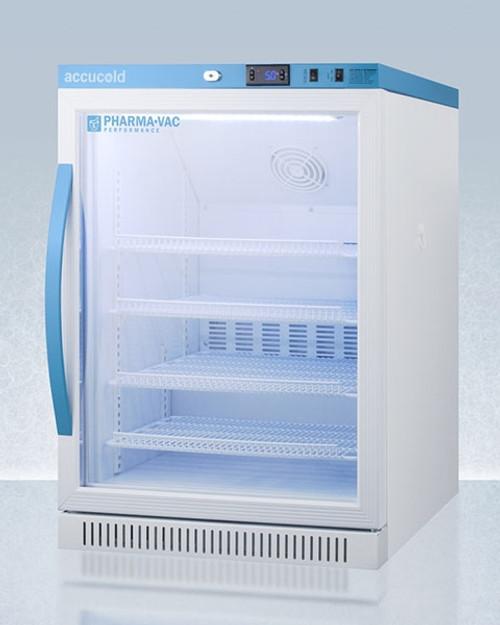 Accucold Pharma-Vac 6 Cu.Ft. Freestanding ADA Height Glass Door Refrigerator