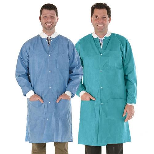 Medicom SafeWear Disposable Lab Coat, Soft Blue, Large, 12/bag