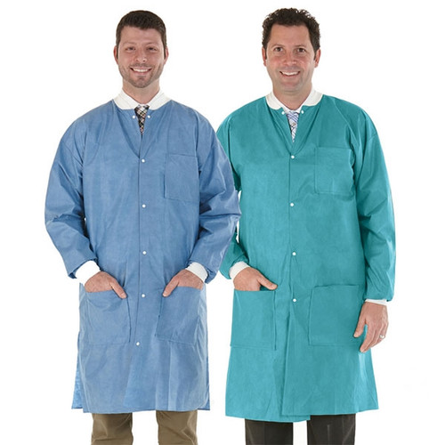 Medicom SafeWear Disposable Lab Coat, Soft Blue, Extra Large, 12/bag