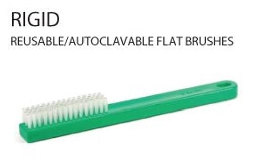 Rigid Reusable/Autoclavable Flat Brush Green 3/pkg
