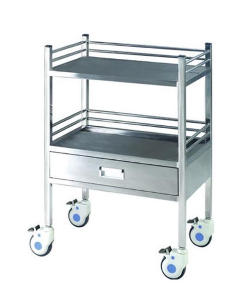 "Stainless Steel Cart, 2 Shelf 1 Drawer, 25.6""L X 18""W X 39.6""H"