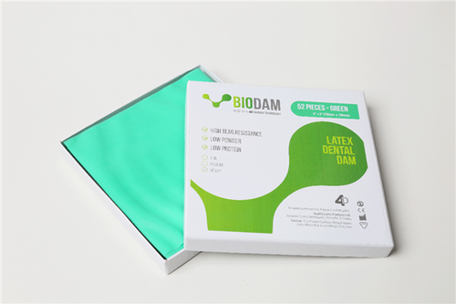"4D BIODAM Low Protein Latex Dental Dam 5""x 5"" Thin Green 52/box"