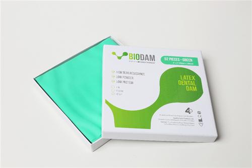 "4D BIODAM Low Protein Latex Dental Dam 5""x 5"" Medium Green 52/box"