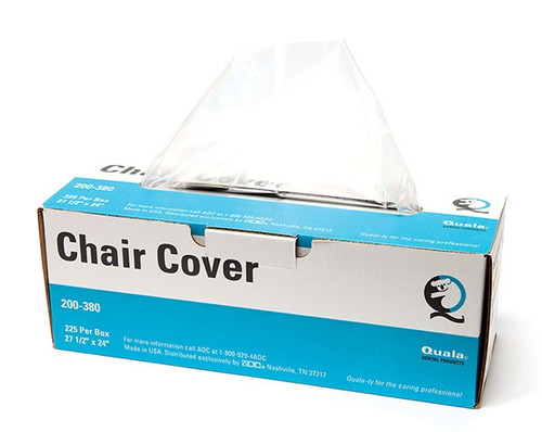 """Quala Half Chair Cover 27.5"""" x 24"""" Disposable plastic cover is tapered to cover front and back of dental chair. Inner layer clings to chair, helping it stay in place. Smooth outer surface allows patients to move comfortably."""