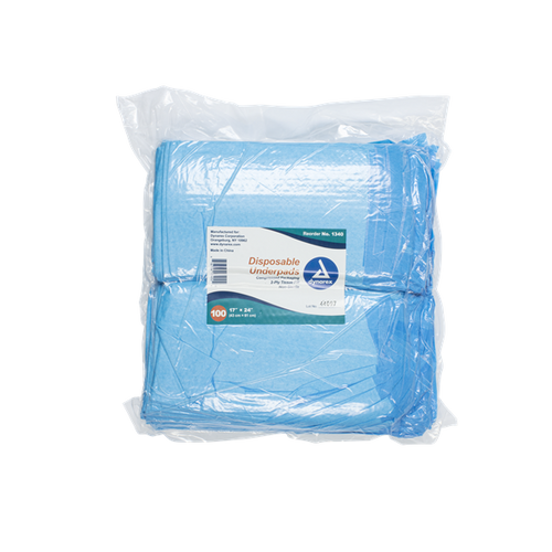 """Dynarex Disposable Underpads 17"""" x 24"""" - Tissue Fill (2ply) 100/bag"""