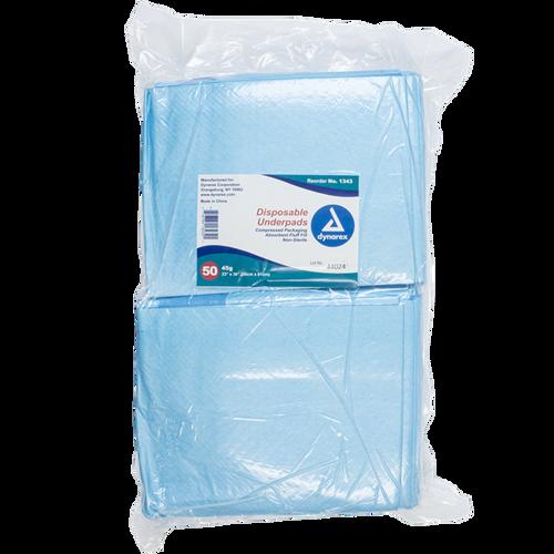 "Dynarex Disposable Underpads 23"" x 36"" (45g) 50/bag"