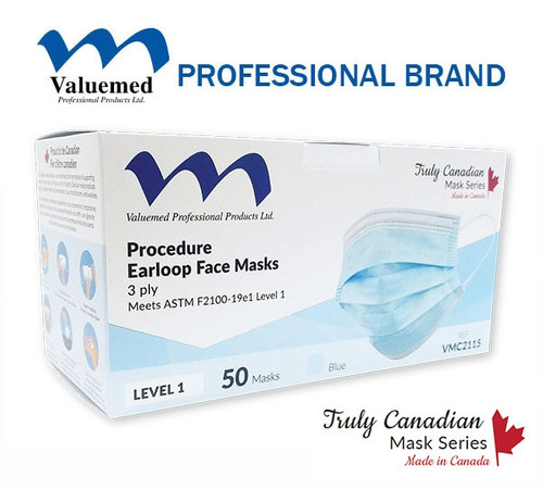 Valuemed Professional Truly Canadian Earloop Face Masks Level 1 Blue, 50/box