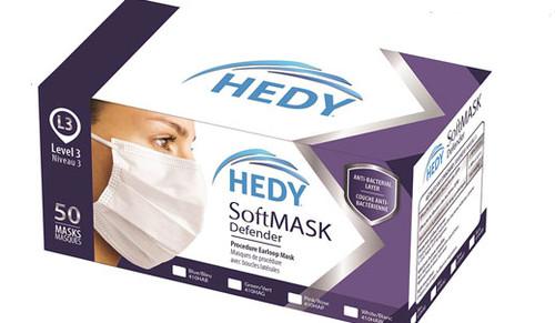 Hedy Softmask Defender Earloop Mask, Level 3, 50/box - Blue