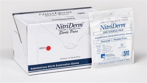 NitriDerm Nitrile Sterile Exam Gloves Large 50pairs/box