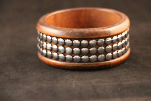 Wooden Bracelet with Inlayed Silver Studs