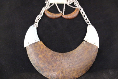 Over Sized Horn Necklace with Earrings Set