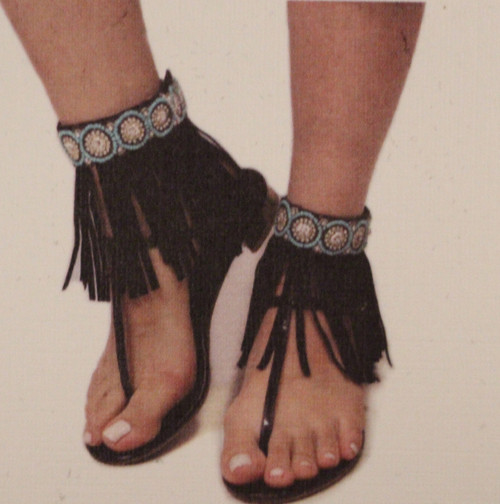 Beaded Bohemian Fringe Anklet Accessories Black (Pair)_1