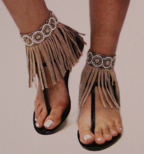 Beaded Bohemian Fringe Anklet Accessories Tan (Pair)_1