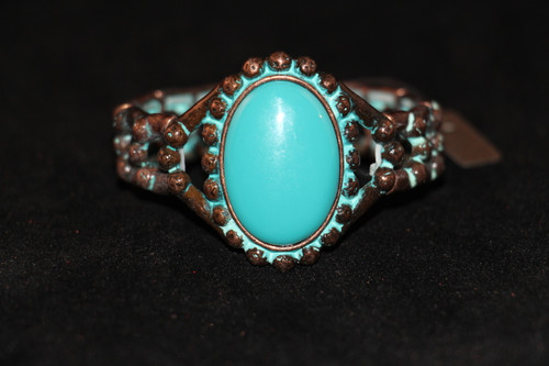 Faceted Framed Oval Accent Gemstone Detailed Ornate Bracelet Stretch (Patina Turquoise)