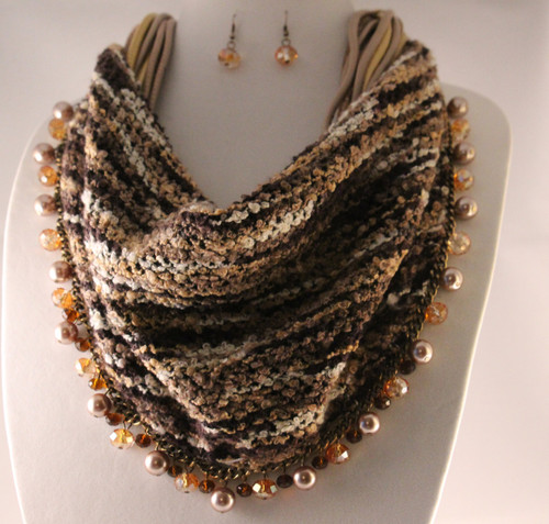 Opaque Cord Bead Dangle Accent Bib Necklace Set (Brown)