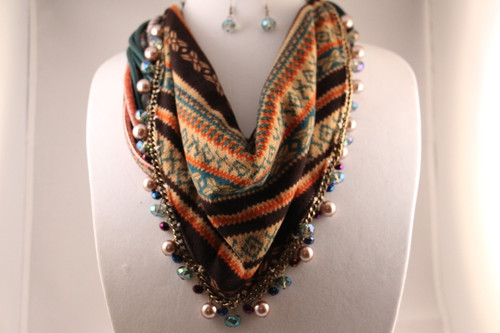 Opaque Cord Bead Dangle Accent Bib Necklace Set (Teal Multi)
