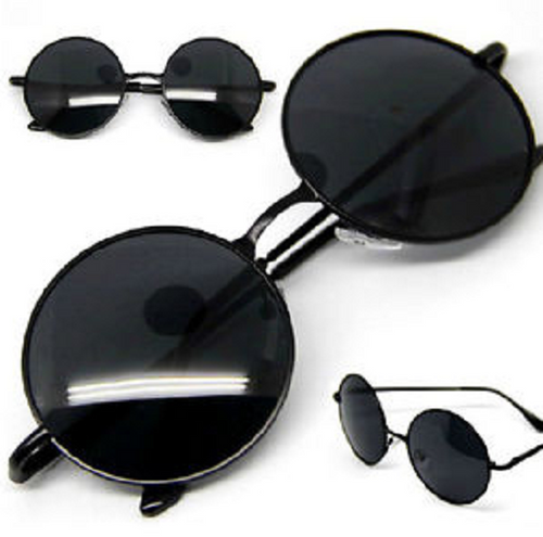 Women's Round Fashion Metal Sunglasses (Black)
