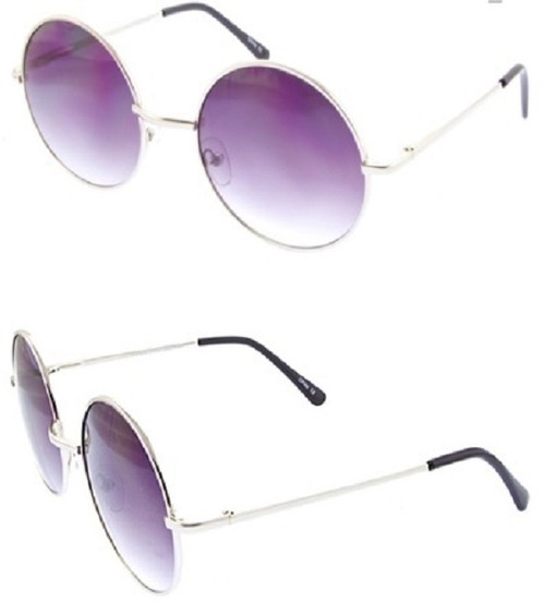 Womens Round Fashion Metal Sunglasses (Lilac)